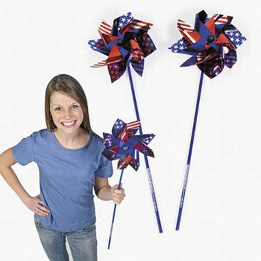 Metallic Patriotic Pinwheels with Imprint | Fun Impressions